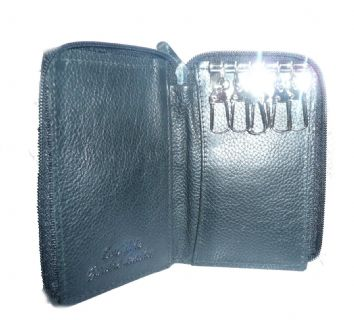 Leather Key Holder Wallet with Zip Closure in Black or Brown